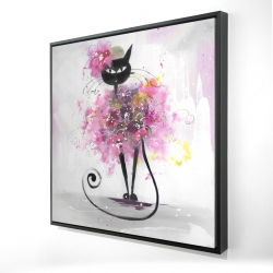 Framed 36 x 36 - 3D - Cartoon cat with pink flowers