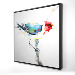 Framed 24 x 24 - 3D - Colorful woodpecker