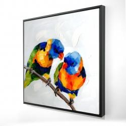Framed 24 x 24 - 3D - Couple of parrots