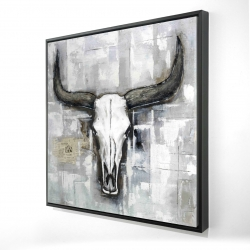 Framed 48 x 48 - 3D - Bull skull on an industrial background