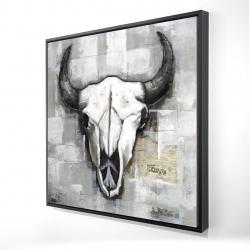 Framed 24 x 24 - 3D - Industrial style bull skull