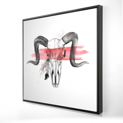 Framed 24 x 24 - 3D - Aerie skull with feather