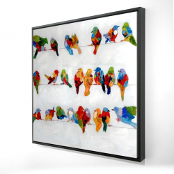 Framed 24 x 24 - 3D - A lot of colorful birds on a wire