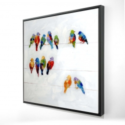 Framed 24 x 24 - 3D - Colorful birds on a wire