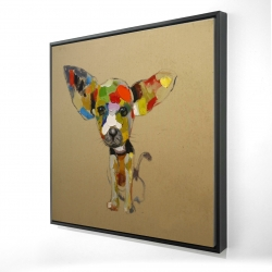 Framed 24 x 24 - 3D - Abstract colorful chihuahua
