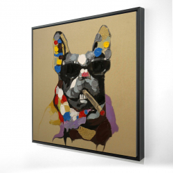 Framed 24 x 24 - 3D - Abstract smoking dog