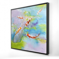 Framed 24 x 24 - 3D - Four koi fish swimming