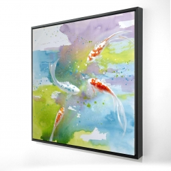 Framed 24 x 24 - 3D - Koi fish in colorful water
