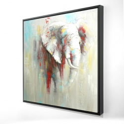 Framed 24 x 24 - 3D - Abstract elephant with paint splash