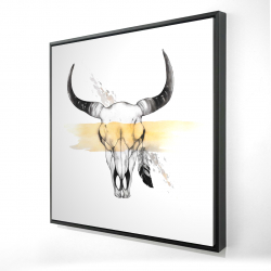 Framed 24 x 24 - 3D - Cow skull with feather