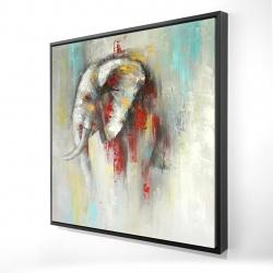Encadré 24 x 24 - 3D - éléphant abstrait avec éclats de peinture