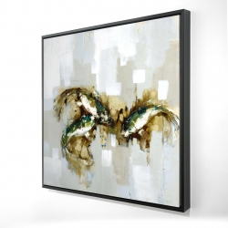 Framed 24 x 24 - 3D - Three abstract koi fish