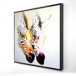 Framed 24 x 24 - 3D - Couple of colorful zebras