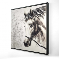 Framed 24 x 24 - 3D - Alpha the white horse