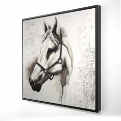 Framed 24 x 24 - 3D - Flicka the white horse