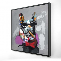 Framed 24 x 24 - 3D - Abstract bulldog with cigar