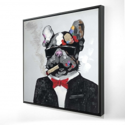 Framed 24 x 24 - 3D - Smoking gangster bulldog