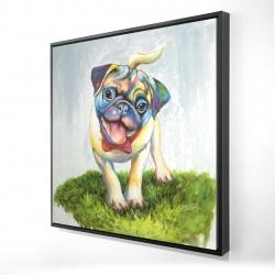 Framed 24 x 24 - 3D - Colorful smiling pug
