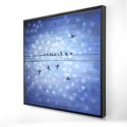 Framed 24 x 24 - 3D - Birds on a wire with a clear blue sky