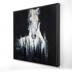 Framed 24 x 24 - 3D - Abstract white horse on black background
