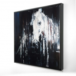 Framed 24 x 24 - 3D - Abstract horse on black background
