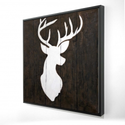 Framed 24 x 24 - 3D - White silhouette of a deer on wood