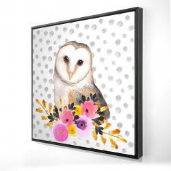 Framed 24 x 24 - 3D - Beautiful owl