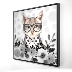 Framed 24 x 24 - 3D - Geek cat
