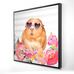 Framed 24 x 24 - 3D - Guinea pig with glasses