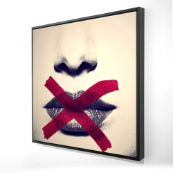 Framed 24 x 24 - 3D - Grayscale lips with a red x