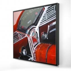 Framed 24 x 24 - 3D - Vintage red car dashboard
