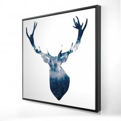 Framed 24 x 24 - 3D - Deer head landscape