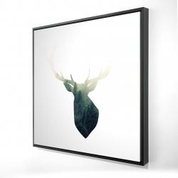 Framed 24 x 24 - 3D - Deer head with green landscape shape