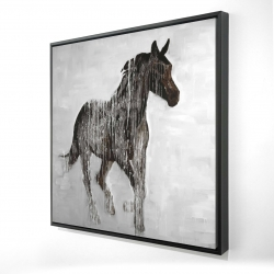 Framed 24 x 24 - 3D - Abstract brown horse