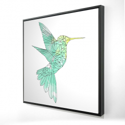 Framed 24 x 24 - 3D - Geometric hummingbird