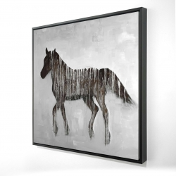 Framed 24 x 24 - 3D - Gambading abstract horse