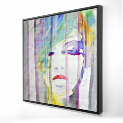 Framed 24 x 24 - 3D - Abstract colorful portrait