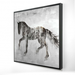 Framed 24 x 24 - 3D - Horse brown silhouette