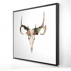 Framed 24 x 24 - 3D - Deer skull with roses