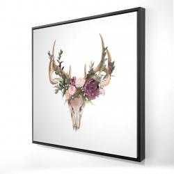 Framed 24 x 24 - 3D - Deer skull with flowers