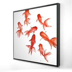 Framed 24 x 24 - 3D - Red fishes