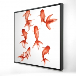 Framed 24 x 24 - 3D - Small red fishes