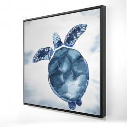 Framed 24 x 24 - 3D - Watercolor blue turtle