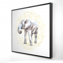 Framed 24 x 24 - 3D - Elephant on mandalas pattern