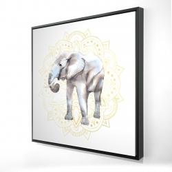 Framed 24 x 24 - 3D - Elephant on mandalas pattern