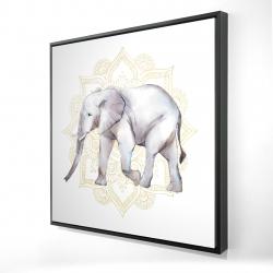 Framed 24 x 24 - 3D - Elephant on mandalas