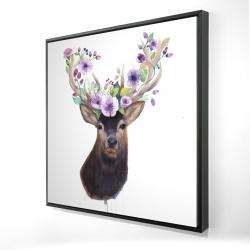 Framed 24 x 24 - 3D - Roe deer head with flowers