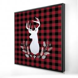 Framed 24 x 24 - 3D - Deer plaid