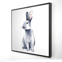 Framed 24 x 24 - 3D - Gray curious rabbit