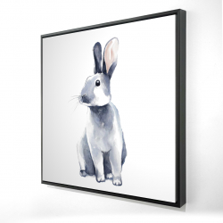Framed 24 x 24 - 3D - Gray curious rabbit